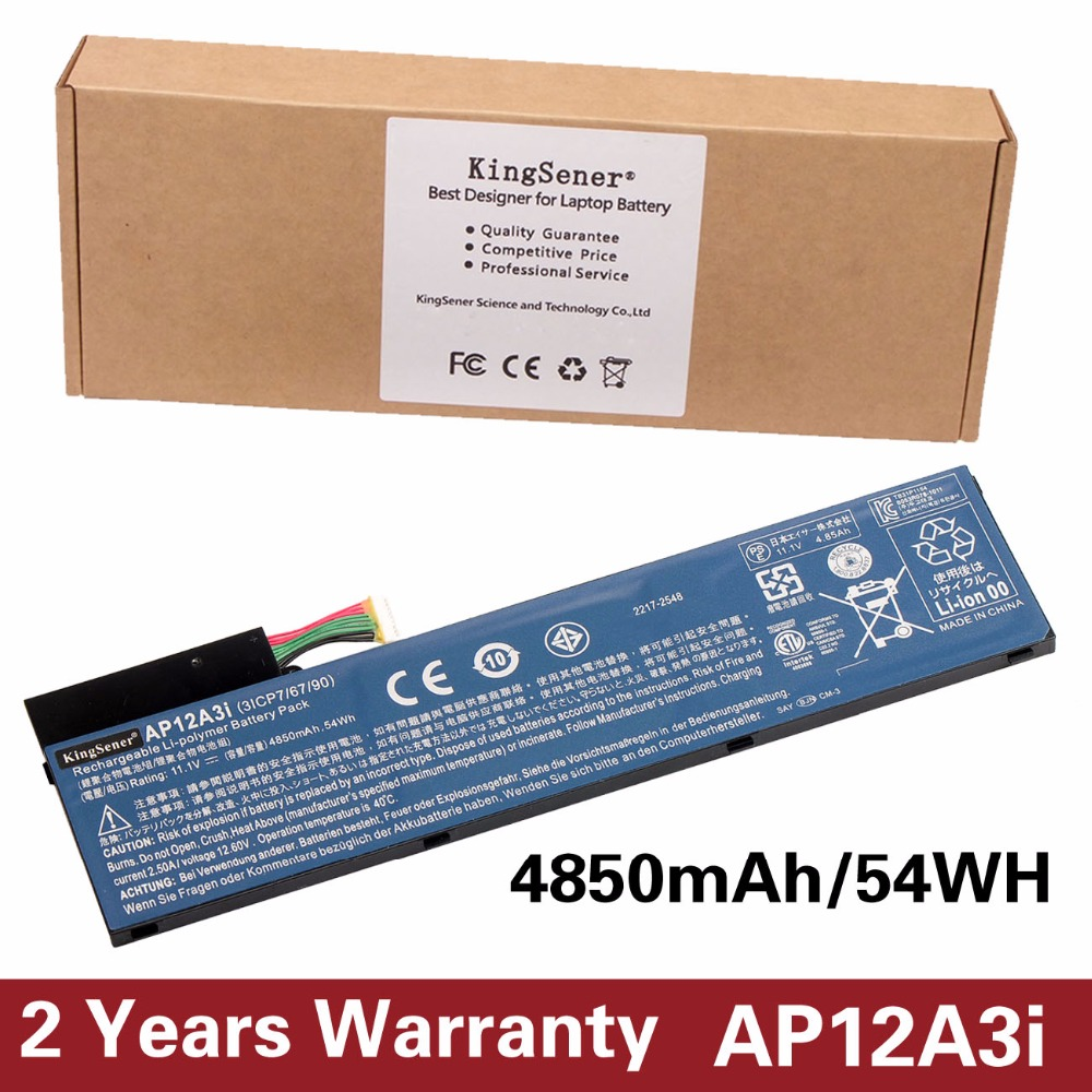 11.1V 4850mAh KingSener New Battery AP12A3i For Acer Iconia W700 Aspire Timeline Ultra U M3-581TG M5-481TG AP12A3i AP12A4i 54WH iconia w700 new for acer w700 tablet pc cpu fan built in cooling fan