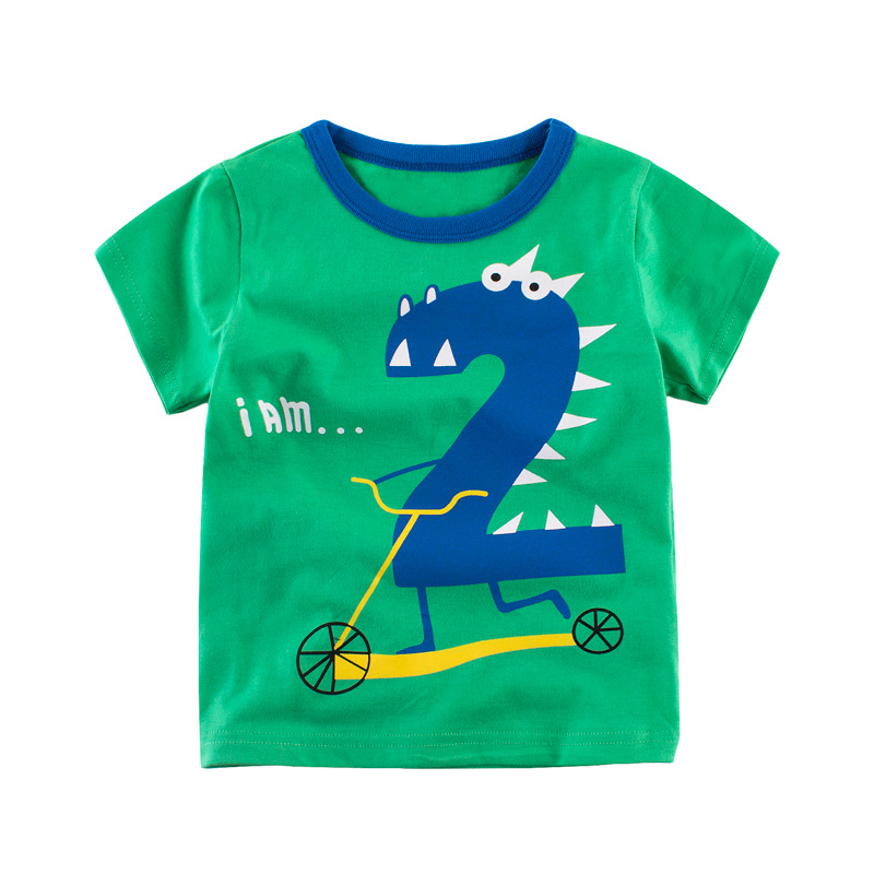 Топы для мальчиков и футболка Лето 2017 г. Fashoin номера узор футболки для мальчиков короткий рукав милый 1 2 3 4 5 6 детей Костюмы для Обувь для дево...