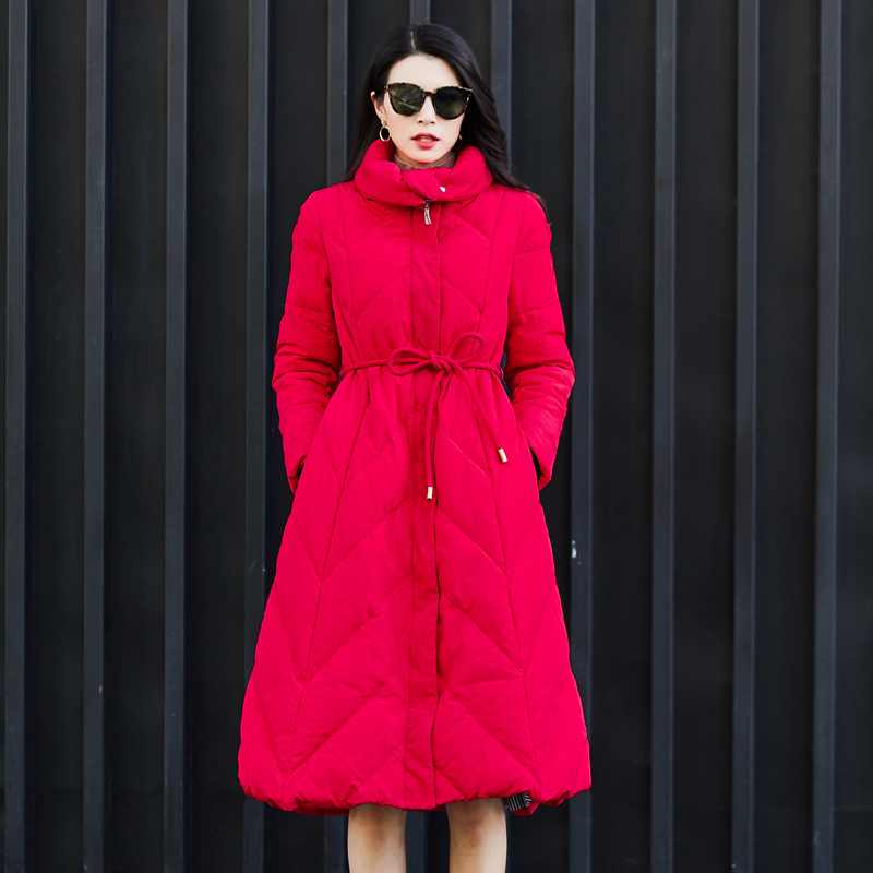 Brand New Women Winter Jackets Red   Down     Coat   Skirt Style Long Parka Female Jacket Stand Collar Lacing Thicken Warm Snow Outwear