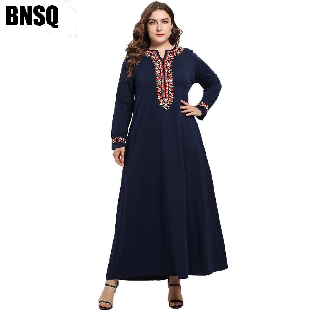 BNSQ Plus Size Spring Autumn Arab Long Dresses Embroidered Long Sleeved Ethnic Knit Maxi Muslim Abaya Kaftan M-4XL