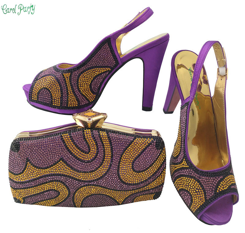 African Women Shoes and Bag Italian Shoes and Bag Set Decorated with Rhinestine Ladies Wedding Matching Shoe and Bag  BCH-28 african wedding shoes and bag sets women pumps decorated with diamonds italian matching shoe and bag mm1014