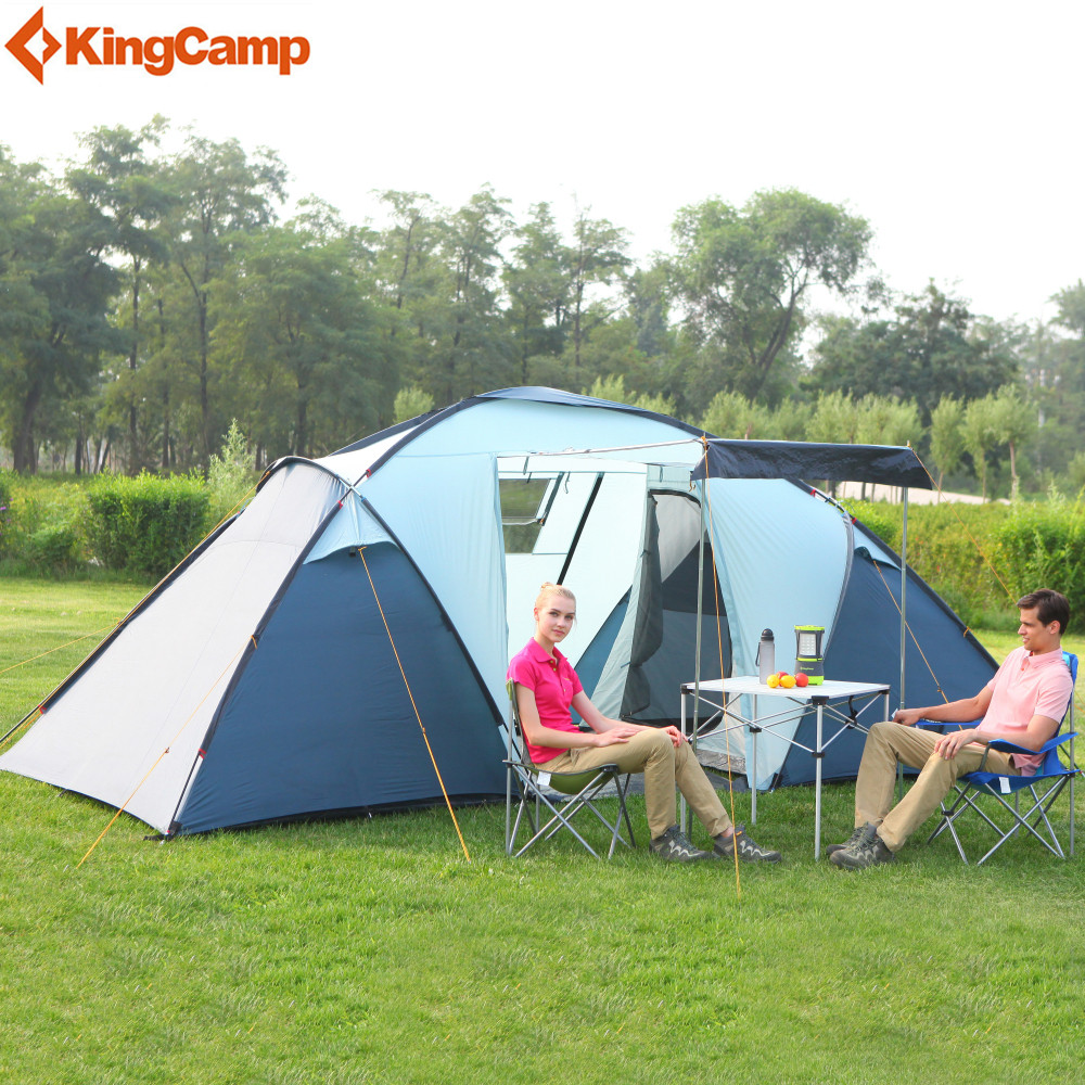 KingCamp Camping Tent Waterproof Windproof Fire-resistant 4-Person,3-Season Outdoor Tent for Family Camping Hiking Trekking kingcamp camping tent waterproof brand windproof bari fire resistant 4 person 3 season outdoor tent for family camping