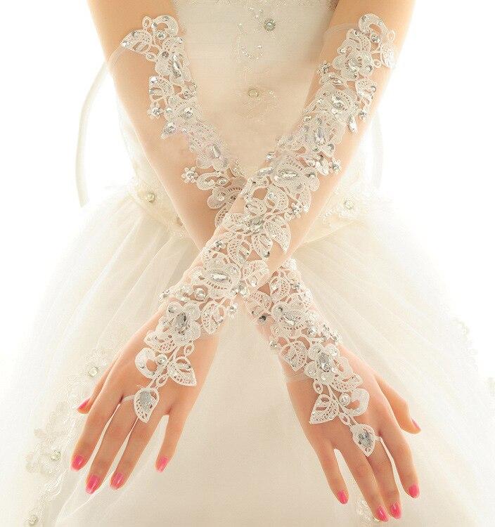 2018 New Fashion Bride Gloves Long Wedding Dress Gloves Lace Beige Elbow Length Beaded Fingerless