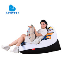 LEVMOON Beanbag Sofa Chair Yellow People Seat Zac Comfort Bean Bag Bed Cover Without Filler Cotton