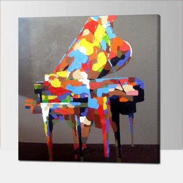 כלי נגינה פסנתר צבעוני ציור שמן מודרני מופשט יד מצוירת בד