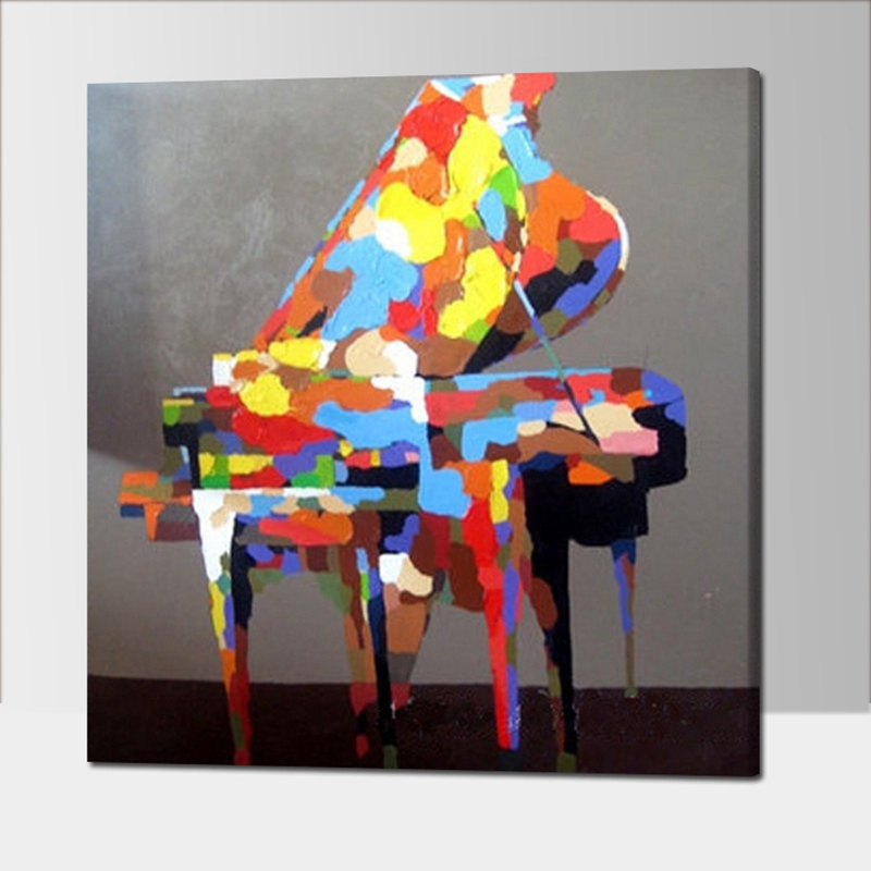 Hand Painted Colorful Piano Oil Painting Modern Abstract