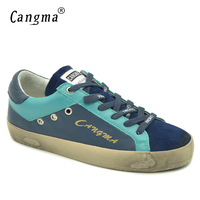CANGMA Women Casual Shoes Luxury Brand Retro Navy Blue Ladies Flats Low Top Genuine Leather Girls