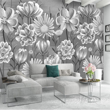 Beibehang Nordic simple small fresh hand painted black and white flowers watercolor style wall custom large mural wallpaper