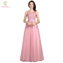 Robe De Soiree SSYFashion Sweet Pink Lace Beading Long Evening Dress Bridal Scoop Sleeveless Transparent Banquet Sexy Prom Dress