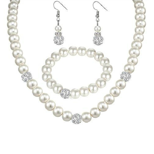 2018 Hot Fashion Bride Wedding Banquet Simulated-pearl Luxury White Crystal Ball Necklace/Earrings/Bracelet Women Jewelry Set