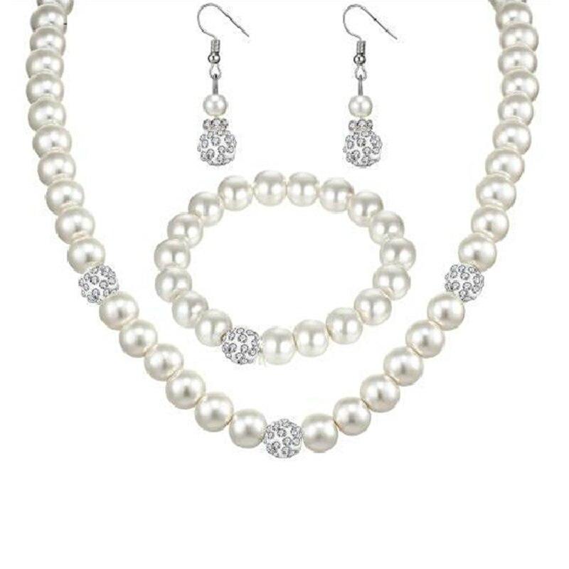 2018 Heißer Mode Braut Hochzeit Bankett Simulierte-perle Luxus Weiß Kristall Ball Halskette/ohrringe/armband Frauen Schmuck Set Bequem Und Einfach Zu Tragen