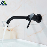 Black Basin Faucet Wall Mounted 2 Hole Washing Basin Mixer Tap Single Lever Swive Spout Concealed Install Hot Cold Water Tap