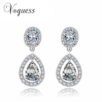 White Gold Plated Water Drop Brinco With AAA Sparkling Pear Cut Cubic Zirconia Trendy Brand Wedding