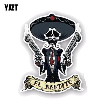 YJZT 10CM * 12 7CM akcesoria samochodowe EL BANDITO czaszka na samochód naklejka styl naklejka pcv 6-0046 tanie i dobre opinie Całego ciała Rysunek Klej naklejki Words Karoserii Nie pakowane