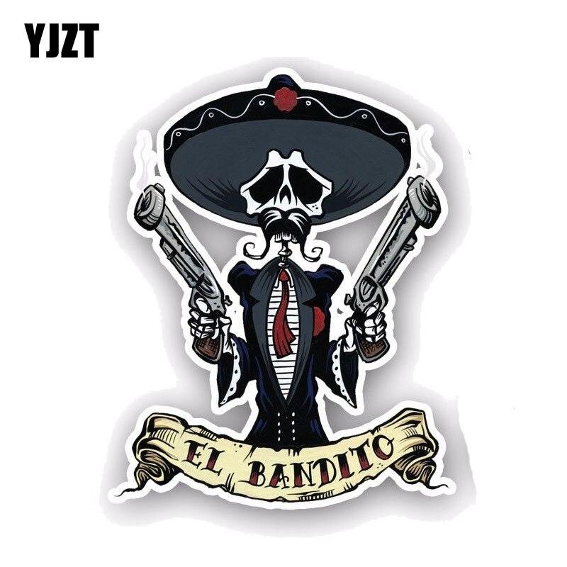 YJZT 10CM*12.7CM Car Accessories EL BANDITO Skull Car Sticker Style Decal PVC 6-0046