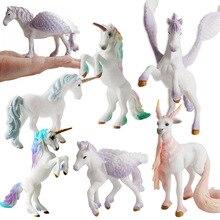 Śliczne Pegasus Tenma elfy owce jednorożec Model symulacja Mini Model konia zwierząt rysunek dzikie figurki zabawki edukacyjne dla dzieci prezenty