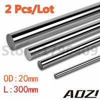 2 Pcs Lot Cnc Linear Shaft Chrome OD 20mm L 300mm WCS Round Harden Steel Rod