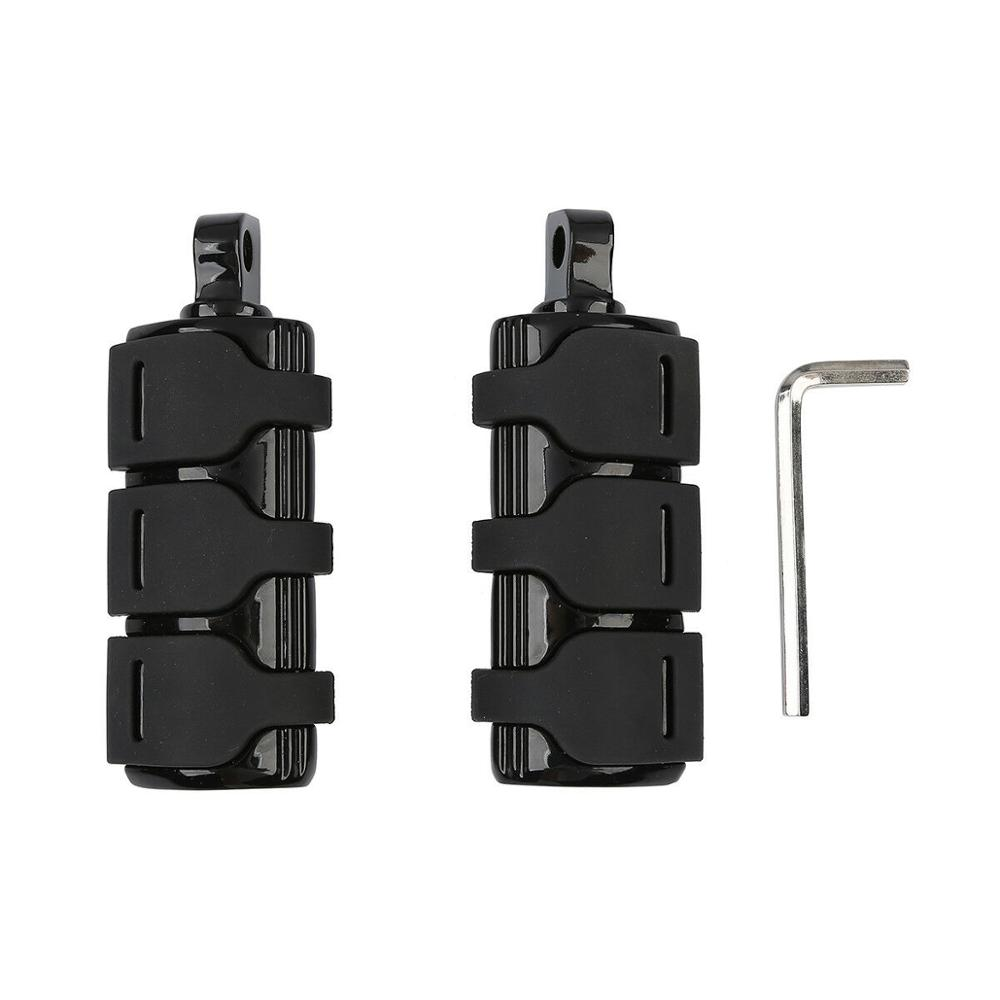 Motorcycle L & R Black Male Mount Footpegs Footrests For Harley Fatboy Dyna FXWG FXR FXST FXD Ultra Classic FXST FLSTF FLHT