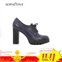 SOPHITINA Genuine Leather Lady Platform Pumps Dark Blue Sheepskin Lace up High Square Heel Women Shoes Round Toe Handmade D59