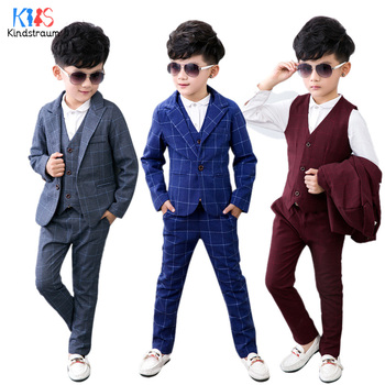 2fc1f9690 Kindstraum 3 piezas moda niños trajes primavera otoño Plaid algodón Blazer  + chaleco + pantalón niños ropa de fiesta de boda conjuntos MC921