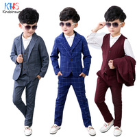 Kindstraum 3pcs Fashion Boys Suits Spring Autumn Plaid Cotton Blazer+Vest+Pant Kids Wedding Party Wear Clothing Sets, MC921