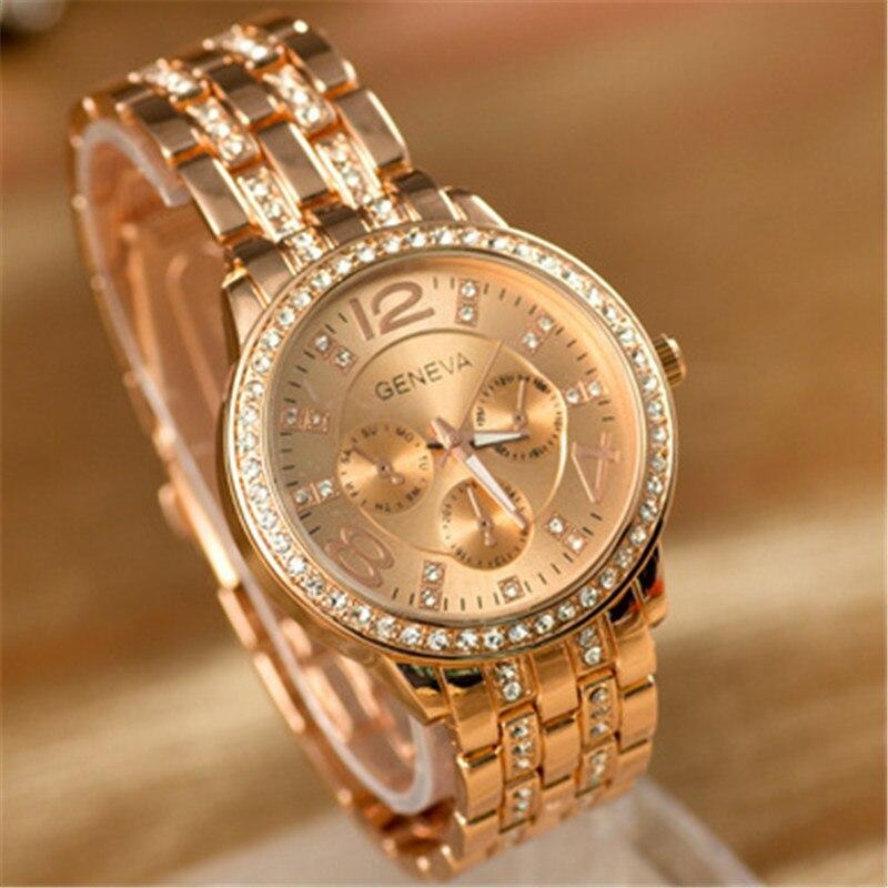 2018 New Fashion Rhinestone Watch Women Top Luxury Brand Bracelet Watch Ladies Quartz Rose Gold Dress Analog Watch Women Clocks