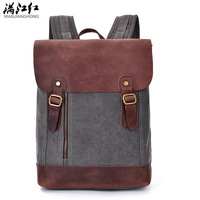 Manjianghong Men S Vintage Backpacks Bag Crazy Horse Leather Schook Back Pack Bags Casual 15inch Notebook