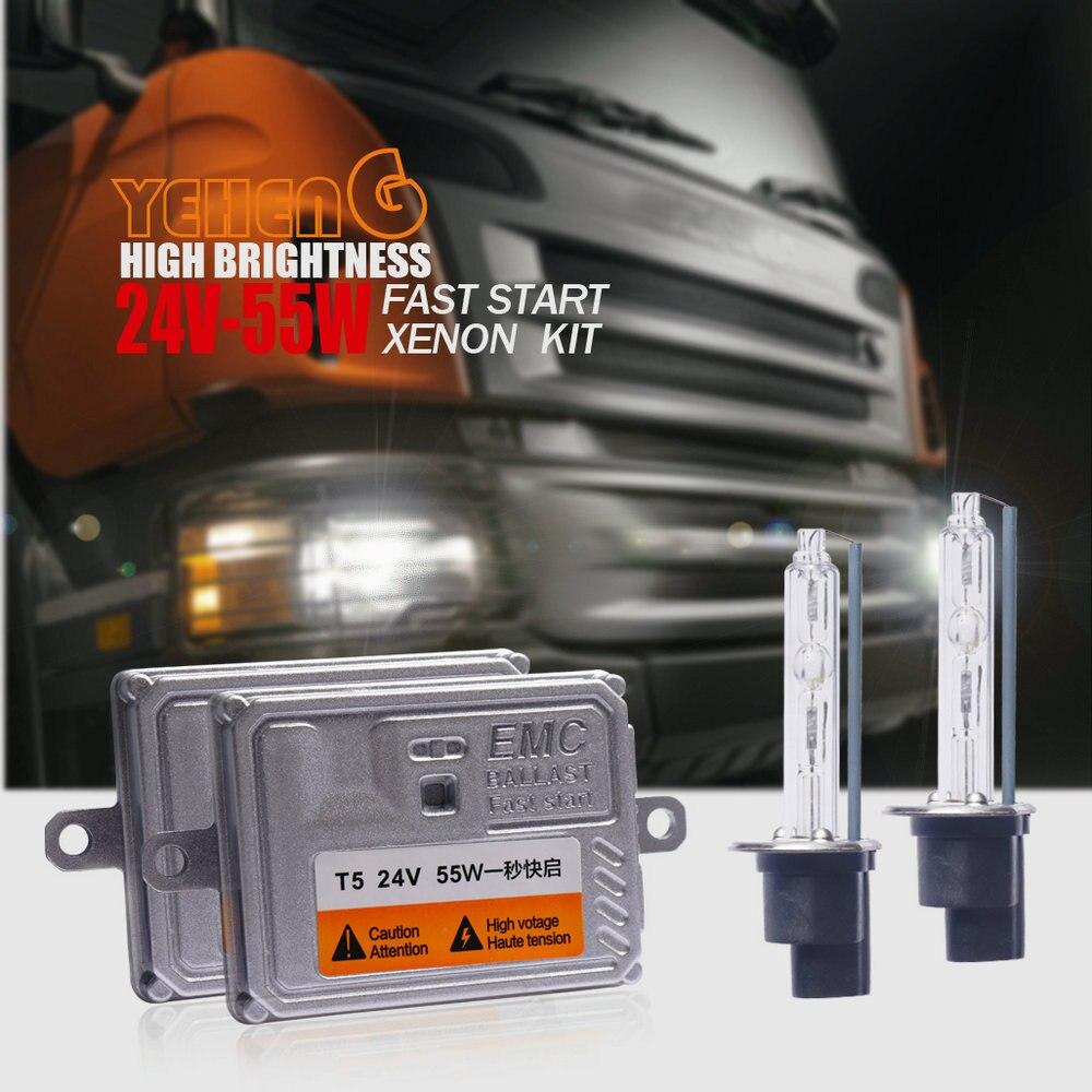 24 V 55 W PHARE CACHÉ kit Xénon Ballast Mince camion lumière H1 H3 H7 H8 H9 H11 9006 9005 9012/HIR2 D2H H4H/L 6000 K 4300 K