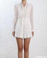 Для женщин с длинным рукавом и v образным вырезом спереди ремень кружева шелка и вискозы тонкий белый комбинезон и короткий комбинезон с поя