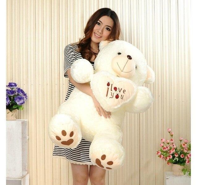 זול 50CM 70CM 90CM דובון דובי חיבוק ענק גדול צעצועי בובה ממולא בפלאש בעלי חיים אני אהבה אתה בובת ולנטיין מתנה עבור ילדה
