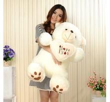 Cheap 50CM 70CM 90CM Teddy Bear Bears Embrace Giant Big Toys Doll Stuffed Plush Animals I love You Doll Valentine Gift for girl