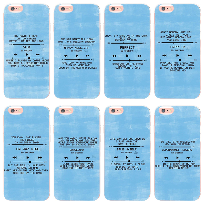 US $0 73 33% OFF|MaiYaCa Ed Sheeran Lyrics Pictures cover for iphone 7  7plus X XS XR XSMax For Apple iphone 5 5s SE 6s 6splus 8 8plus Phone  case-in