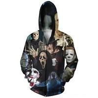 Newest Fashion Men S Horror Movie Shark Zombie 3D Hoodies Zipper Outerwear S M L XL