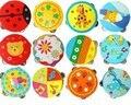 Candice guo! tambor dos desenhos animados chocalhos sinos Orff brinquedo mão de instrumentos musicais do bebê de madeira brinquedo dança 2 pcs