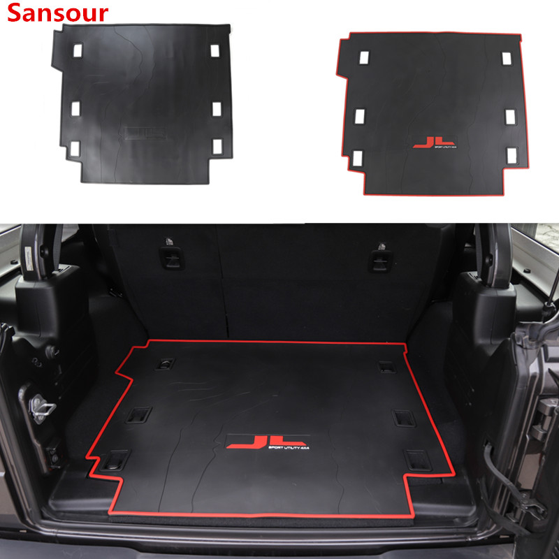 Sansour 3D Cargo Trunk Organizer Tray Mat Slush Floor Mat Liner Mats Carpet Rubber Synthetic Leather For Jeep Wrangler JL 2018