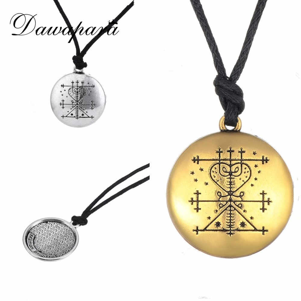Dawapara Tibetan Silver Plated Maman Brigitte Voodoo Loa Veve Pendant Money Talisman Wealth Amulet Jewelry Male Necklace