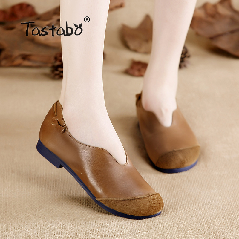 Tastabo Casual Genuine Leather Flat Shoe Flower Slip On Driving Shoe Female Moccasins Flats Lady Pregnant Women Shoes цена