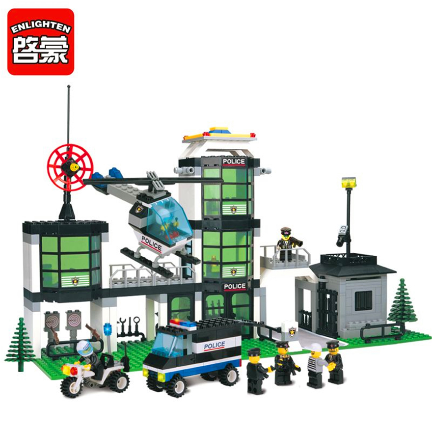 1918 enlighten city series mobile police station 2 in 1 model building blocks action figure toys for children compatible legoe 466Pcs City Police Station Guard SWAT Model Building Block Toys ENLIGHTEN 110 DIY Figure Gift For Children Compatible Legoe