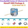 H3 quad-core cortex-a7 allwinner friendlyarm nanopi neo (512 m ram) + ttl + dissipador de calor + 8 gb cartão tf + usb + cabo de alimentação = nanopi neo pacote um