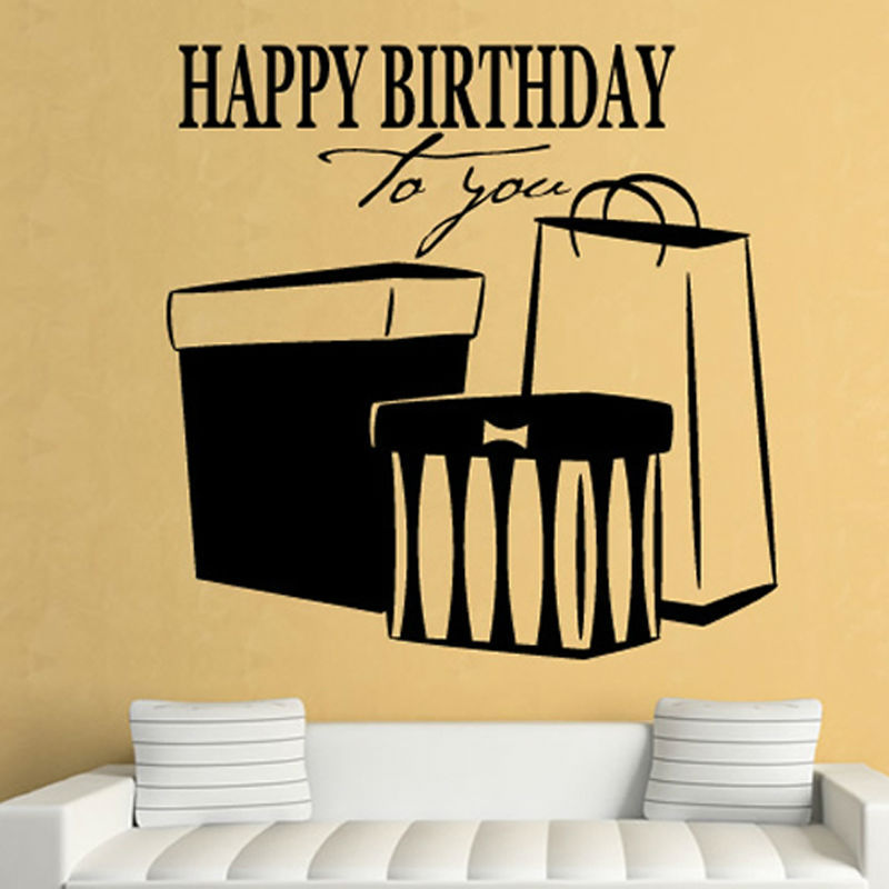Happy Birthday To You Wall Sticker Present Home Decor Hollow Out