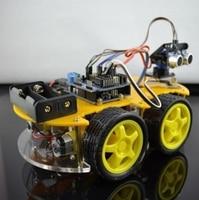 Mini DIY Robot Car Kit 4WD Smart Car Learning Starter Set Multi Function Bluetooth Car For