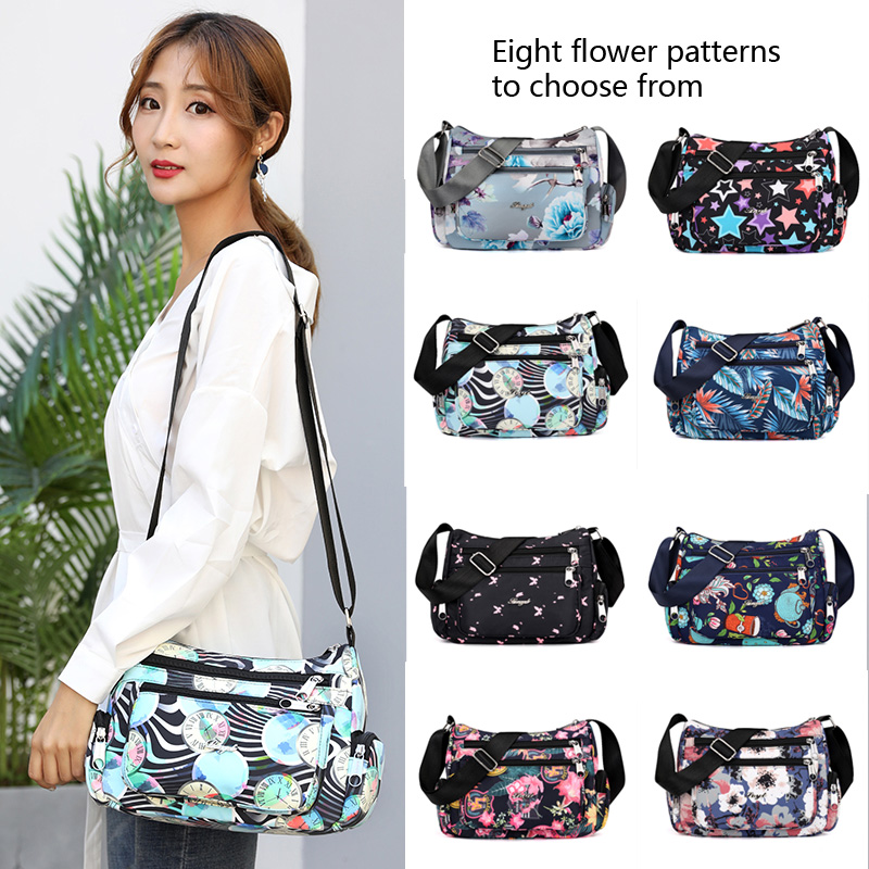 2019 New Designer Women Shoulder Bag Fashion Cartoon Printing Crossbody Bags Ladies Small Nylon Women Messenger Zipper Bag Soft in Shoulder Bags from Luggage Bags