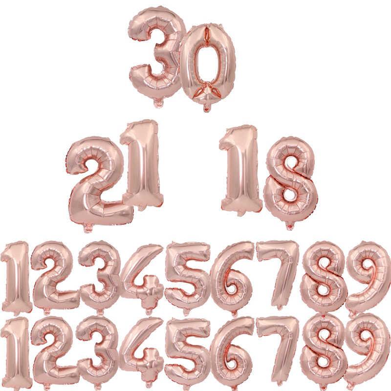 1 pc 16 inch 32 inch 40 inch Rose Goud Zilver Nummer Ballonnen Cijfers Folie Float Air Opblaasbare Ballen Verjaardag wedding Party Decor