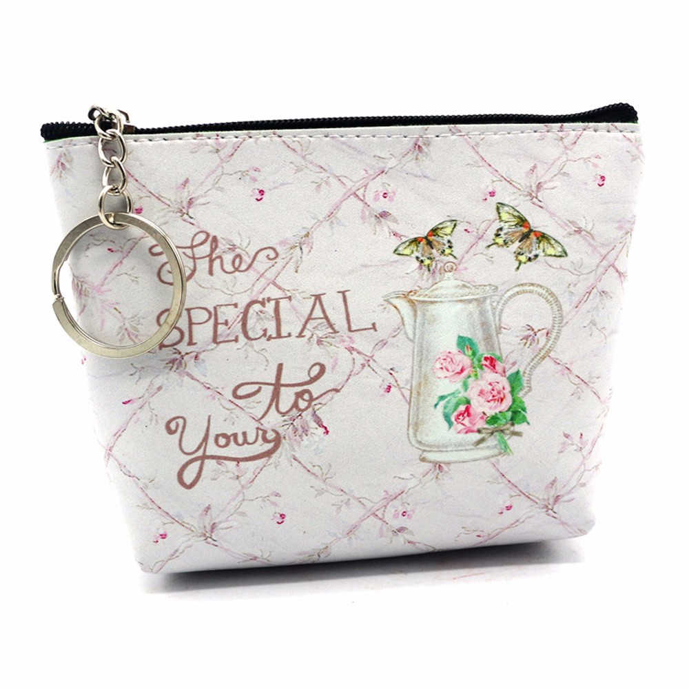 Aelicy Women Girls Storage Bag Cash Coin Purse Mini Casual Cute Cartoon Printed Zipper Clutch Make Up Bag with Keychain
