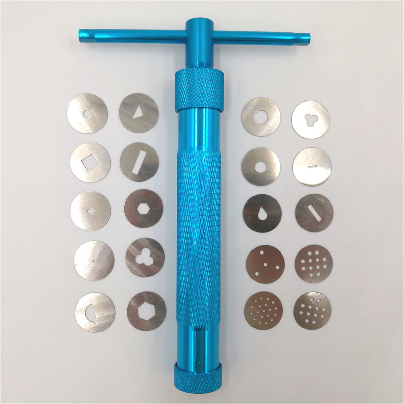 Blue Clay Extruders Sockerpasta Extruder Clay Craft Gun med 20 Tips Sugar Craft Fondant Cake Skulptur Polymer Clay Tool