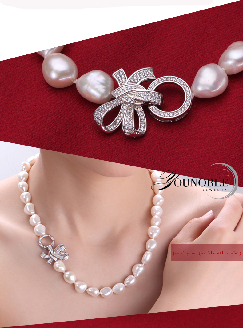 YouNoble Baroque 925 Perak 100% Putih Mutiara Air Tawar Alami Set - Perhiasan bagus - Foto 4