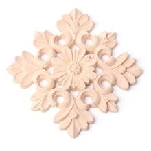 Exquisite Wood Carved Corner Onlay Applique Frame Furniture Unpainted Home Decor