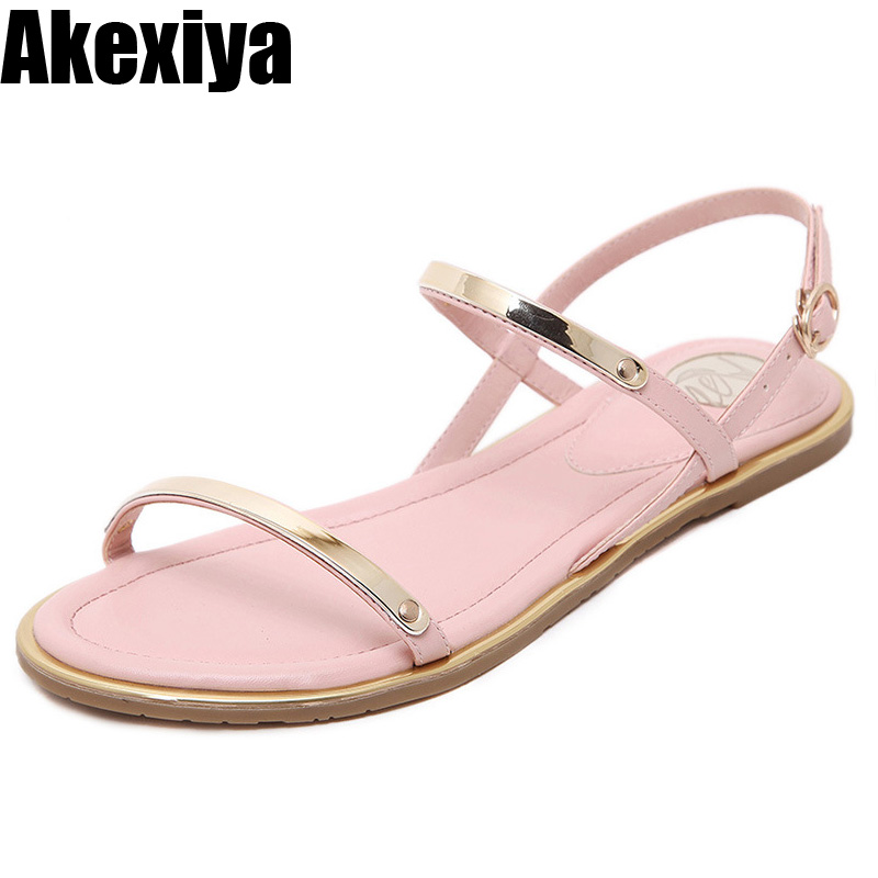 Women Sandals 2018 new summer Comfortable Ankle Strap Flat Casual Sandals Women High Quality Buckle Strap Sandalias size 34-43