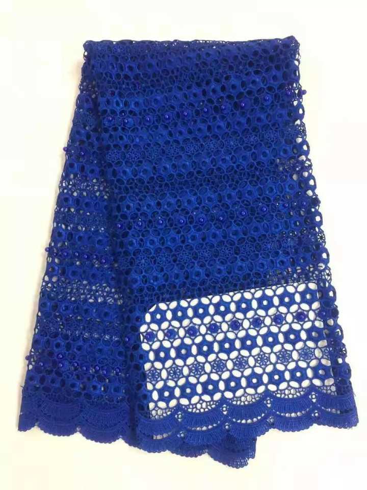 Katun Bordir kain renda Swiss Afrika Guipure renda air larut renda kimia  dengan lace beads wedding dress WKS46-27 42ed5647a1