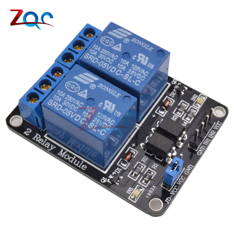 1PCS 5V 2-Channel Relay Module Shield for Arduino ARM PIC AVR DSP Electronic 5V 10A 2 Channel Relay Module
